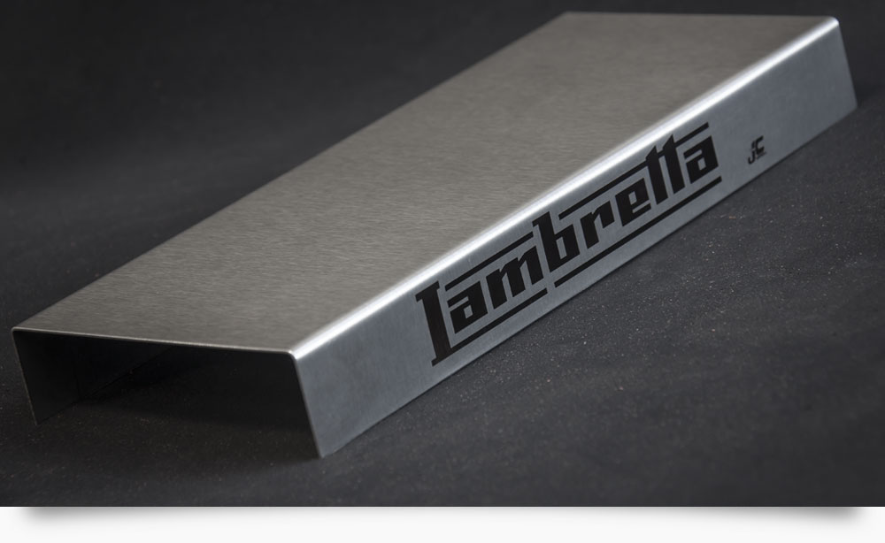 Base for shoe display with laser marked logo